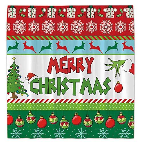 Allenjoy 183 x 183 cm Duschvorhang für Badezimmer Sets Winter Neujahr Weihnachten Glocken Baum Schneeflocken Urlaub Bad Dekor Dekorationen Durable Wasserdicht Stoff Maschinenwaschbar mit 12 Haken