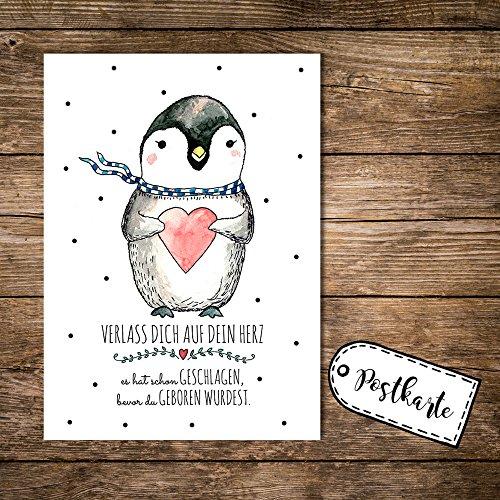ilka parey wandtattoo-welt® A6 Postkarte Karte Pinguin mit Herz und Spruch verlass Dich auf Dein Herz pk09