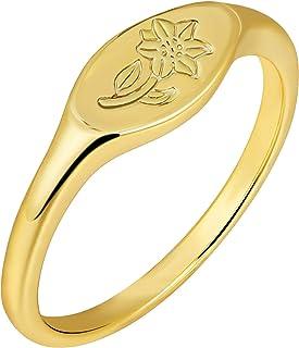 micuco 14K الذهب سيجنت خواتم للنساء النحل اليدوية زهرة أنيقة منقوشة بيان الدائري الفضي