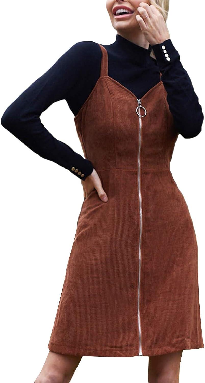 Milumia Women [再販ご予約限定送料無料] Zipper Up Sleeveless 供え Short Dress Overall Corduroy