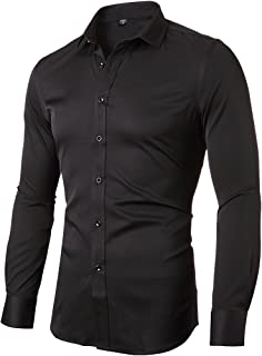 226d1224831a INFLATION Mens Bamboo Dress Shirt Slim Fit Long Sleeve Elastic Formal Shirt  Casual Solid Button Down