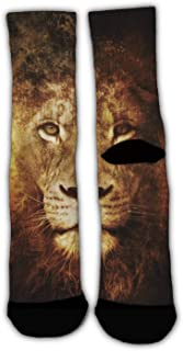 MrDecor Unisex Crazy Fun Cool Angry Lion King Black Art Print Stockings Colorful Athletic Sport Novelty Crew Tube Socks