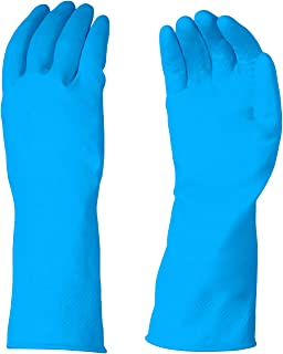 AmazonBasics Professional Reusable Rubber Gloves, Large, Blue, 3-Pack