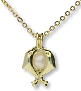 Dolphins Cultured Pearl in Oyster Necklace Set Gold Plated Cage w/Stainless Steel Chain 18