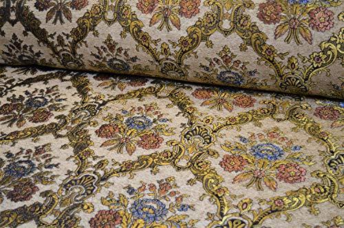 Möbelstoff Bezugsstoff Polsterstoff Barock Vintage Sofa Ranken Ornament (rot beige blau grün)
