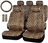 hommyfine set di copri sedili e copri poggiatesta per auto universale accessori auto interno set copri-sedile universali per anteriori e posteriori, motivo leopardo set completo di 12