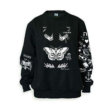Noonew Women's Butterfly Tattoos Sweatshirt Sweater Jumper Pullover Black Shirt