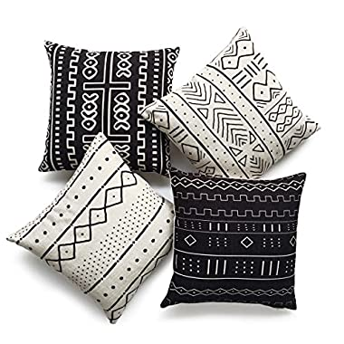 Hofdeco Decorative Throw Pillow Cover HEAVY WEIGHT Cotton Linen African Mud Cloth Ethnic Black Geo Stripe Tribal Pattern Natural Dots Line 18 x18  45cm x 45cm Set of 4