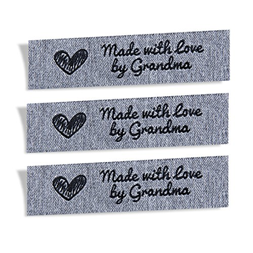 Wunderlabel Made with Love by Grandma Granny Granma Mix Thread Craft Art Fashion Gewebte Bänder Etikett Kleidung Nähen Nähen Kleidung Stoff Stoff Material bestickt schwarz auf grau 25 Etiketten