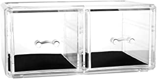 uxcell Large Clear Acrylic Makeup Organizer Jewelry and Cosmetic Display Storage Box Lipstick Liner Brush Holder, 2 Large Grid Drawers