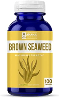 Ahana Nutrition Pure Brown Seaweed Extract Capsules - A Natural Dietary Supplement to Aid Weight Loss and Immune Support (500mg - 100 Count)