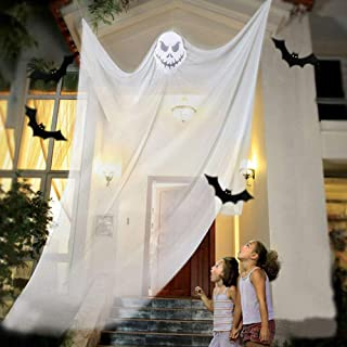 Leyzan Scary Hanging Ghost Halloween Props Decorations White Skeleton Skull Flying Ghost Horrible Spooky for Yard Outdoor Indoor Home Party Bar Supplies Background Decor 6.5x10.8 ft