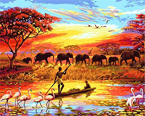 N/R Puzzle 300 Piezas Niños, Animales Africanos Al Atardecer, para Niños Y Adultos, Decoración para El Juego De Juguetes para El Hogar, 38X26Cm
