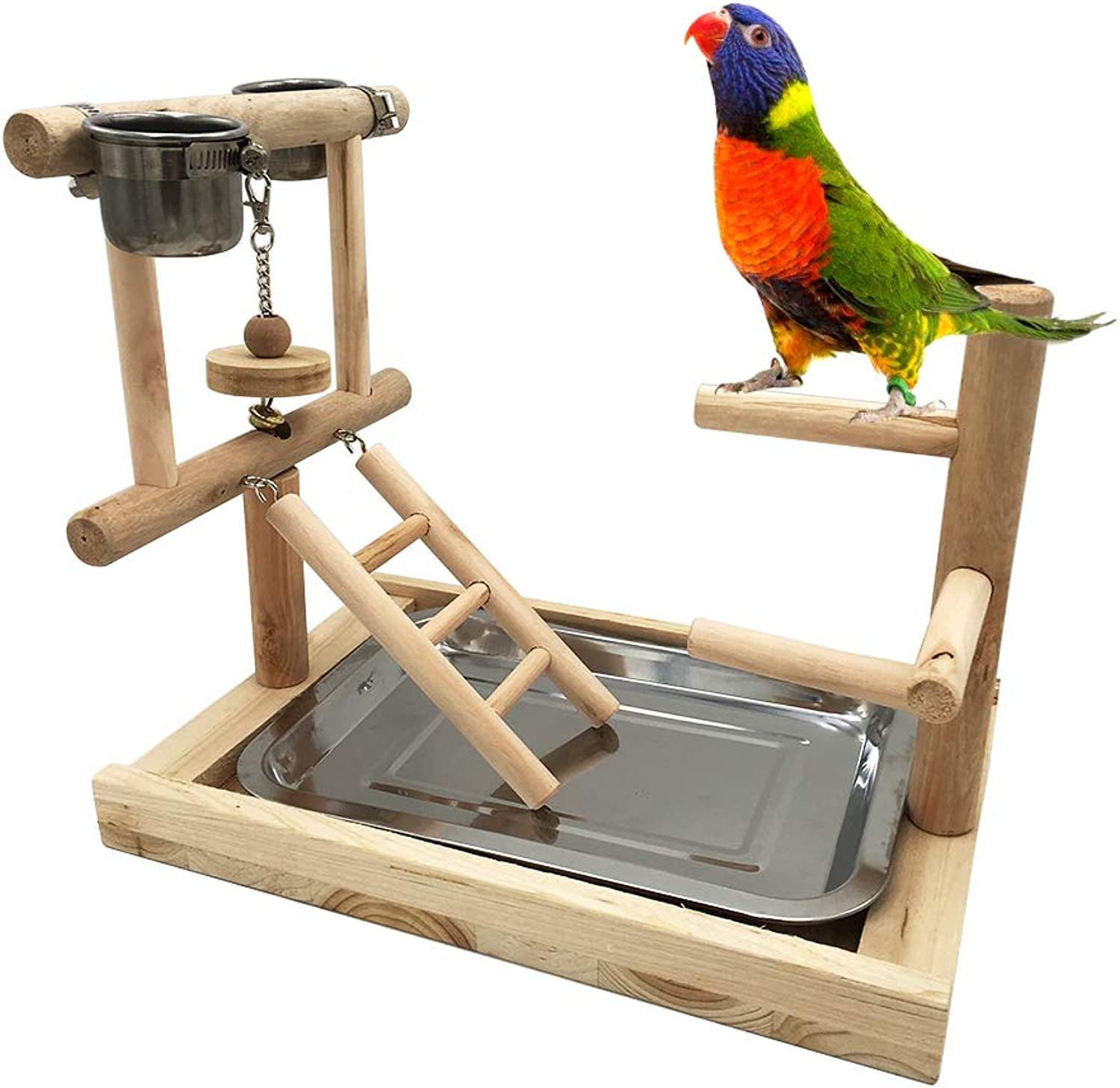 Borange Bird Perch Wood Training Stand Parred Wooden Platform Stand Natural Handmade Playstand Playground Cage Accessories for Parakeet Conure Cockatiel Exercise Toy (Design 3 (2 Cups with Ladder))