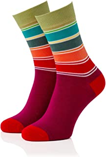 Remember, Remember Calcetines para mujer modelo 09 con rayas y coloridos en talla 36-41 | Se pueden lavar a máquina | Comodidad: suaves, cálidos y superelásticos, perfecto para la temporada de frío