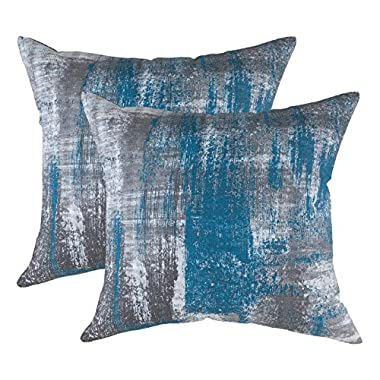 TreeWool Throw Pillowcase Brush Art Accent Pure Cotton Decorative Cushion Cover (22 x 22 Inches / 55 x 55 cm; Teal & Gray) - Pack of 2