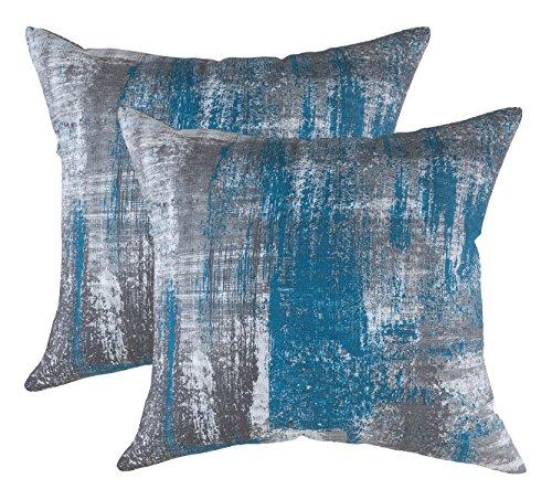 TreeWool - Pack de 2 - Cepillo Arte Acento Decorativo Fundas de cojín, 100% algodón (55 x 55 cm / 22 x 22 Inches, Verde Azulado)