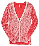 Aeropostale Womens Heathered Cardigan Sweater, Pink, Large