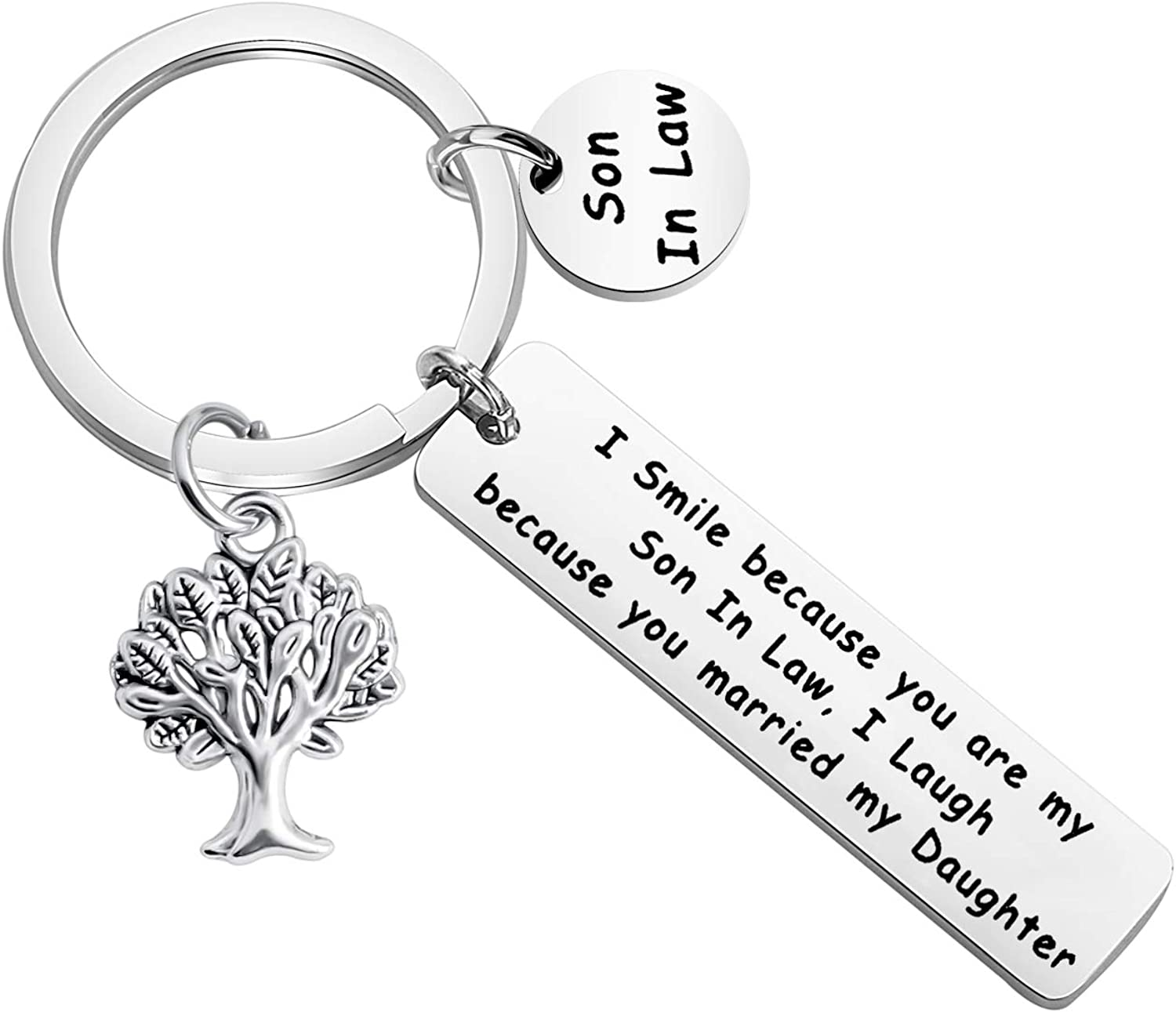 MYOSPARK Daughter//Son in Law Gift I Smile Because You are My Daughter//Son in Law Keychain Wedding Gift from Mother//Father in Law