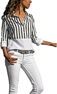 JOFOW Women's Casual Long Sleeve Stripe Patchwork Dots Button Shirt Blouse Tops