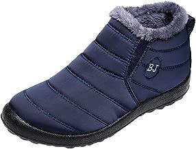 haoricu Mens Snow Boots Women Winter Anti-Slip Ankle Booties Waterproof Slip On Warm Solid Color Sneaker