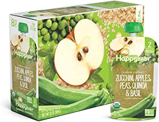 Happy Baby Organic Clearly Crafted Stage 2 Baby Food Zucchini, Apples Peas Quinoa & Basil, 4 Ounce Pouch (Pack of 16)