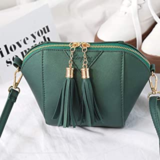Wultia - Bags for Women Women Solid Color Fashion Handbag Tassel Shoulder Bag Small Tote Ladies Purse Bolsa Feminina Green