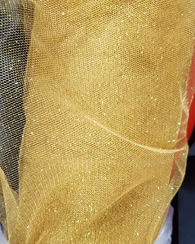 Sequins & Iridescent Glitter Sparkle Stretch Tulle Fabric Color Gold/Gold 64' Wide, 2-Way Stretch Sold by The Yard, (1 yd)