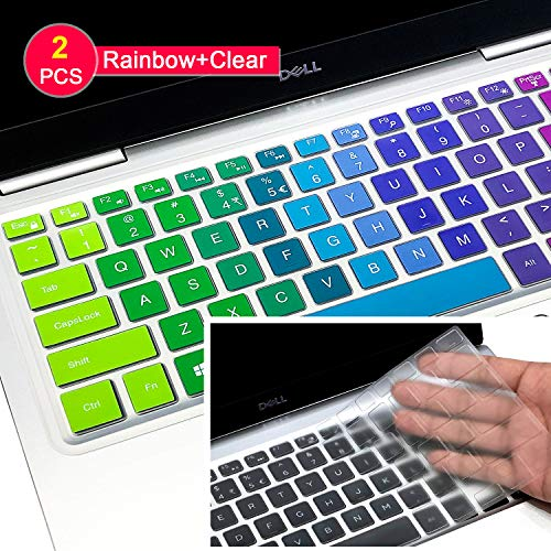 [2 Pcs] Dell XPS 15 Keyboard Cover Skin, for 2018 Release DELL XPS 15 9570 & 2017 Release DELL XPS 15 9560 9550 15.6' Laptop,Silicone Soft-Touch Keyboard Skin(NOT Fit XPS 15 9575),Rainbow+Clear