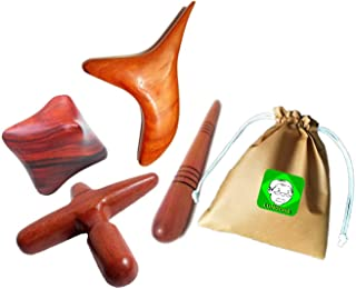 Lungcha Traditional Thai Massage Wooden Stick Tool, Reflexology, Acupuncture Point Gua Sha for Body, Foot, Hand, Head, Face, Nose, Neck, Back, Waist Massage (Set 4 Body Hand Foot Massage)