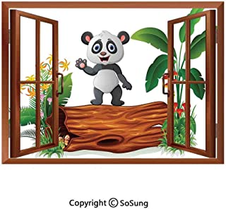 Panda Removable Wall Sticker/Wall Mural,Cute Baby Panda Standing on a Tree Trunk Tropical Flowers Big Leaves Colorful Art Creative Open Window Design Wall Decor,24