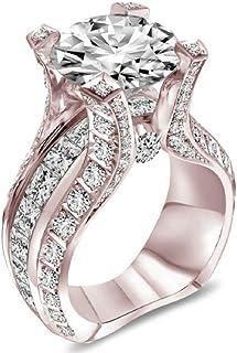 MAIHAO Fashion Women 925 Sterling Silver Ring,Rose Gold Topaz Cubic Zirconia CZ Diamond Elegant Eternity Engagement Weddin...