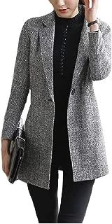 Womens Blazer Plus Size Mid Long Notch Lapel Patch Suit Coat