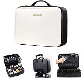 BEGIN MAGIC 14.5 in Large Pro Makeup Train Case/Travel Makeup Bag/Professional Cosmetic Organizer Case for Woman with Compartments, Waterproof Makeup Tools Storage Big(Without Shoulder Strap)