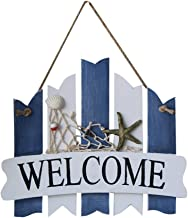 WINOMO WELCOME Sign Plaque Wooden Hanging Nautical Wall Decor Beach Theme Cafe Store Door Decor