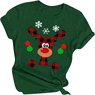 DRAGONHOO Women's Christmas Letter Print Long Sleeve Crew Neck Fit Casual Sweatshirt Pullover Tops Shirts