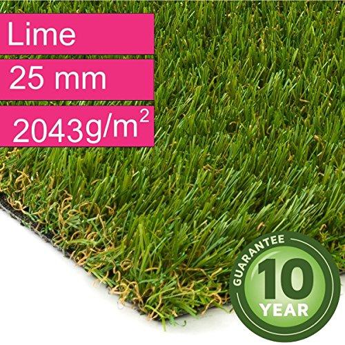 Kunstrasen Rasenteppich Lime für Garten - Florhöhe 25 mm - Gewicht ca. 2043 g/m² - UV-Garantie 10 Jahre (DIN 53387) - 2,00 m x 5,00 m | Rollrasen | Kunststoffrasen