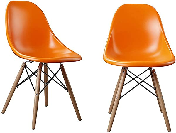 YK Decor 2 Set Of Mid Century Modern DSW Dining Chairs Orange PP Side Chair Wood Leg Chair For Kitchen Bedroom Living Room Orange Pp Seat