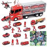 deAO Ensemble de Jouets de Camion de Pompiers d'urgence moulé sous Pression avec Un Camion Porteur, Une Carte, des Pompiers et d'Autres Accessoires pour Enfants