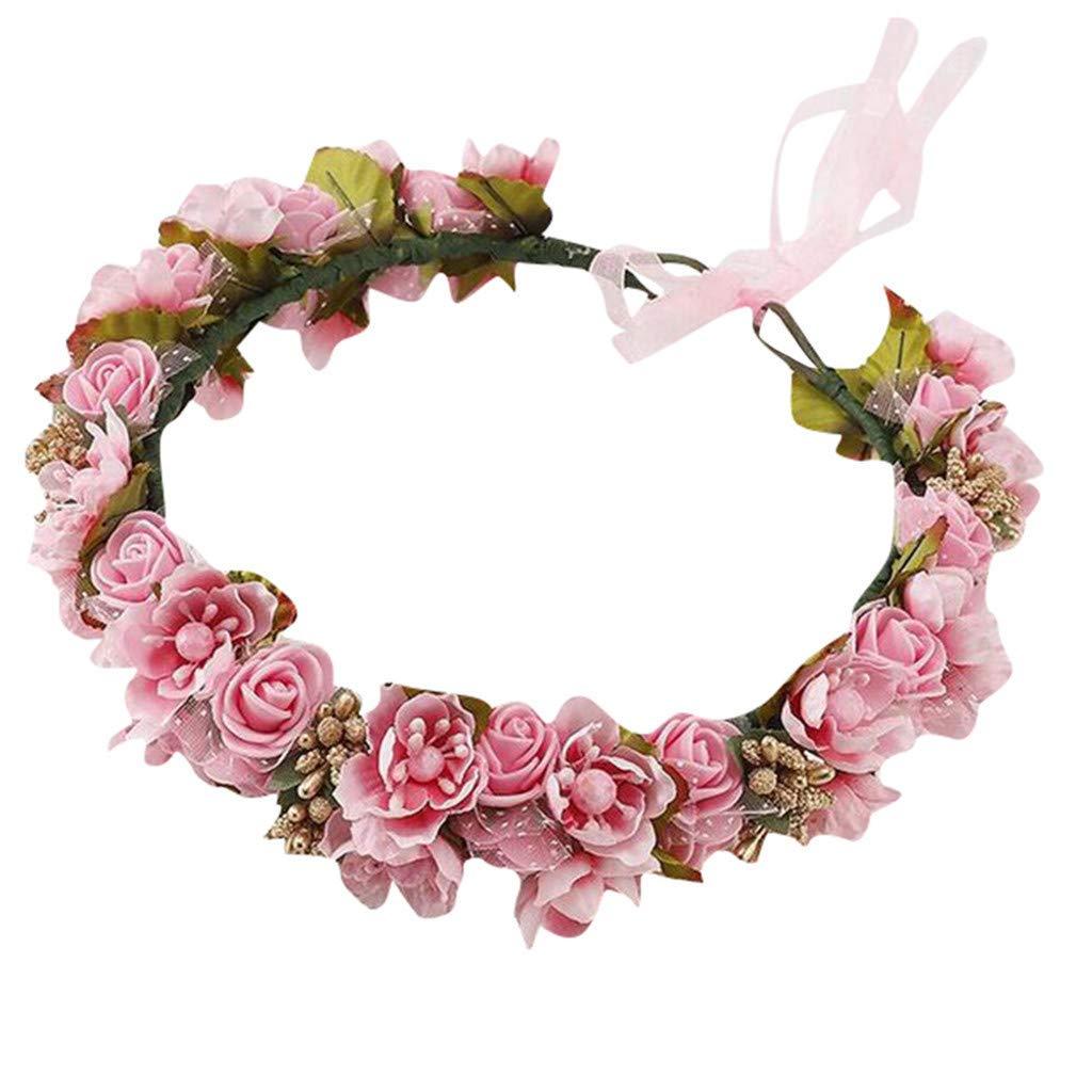 Threecows Bridal Headpieces for Wedding Rose Flower Crown Headband Hair Garland Wreath Headdress for Women,Pink