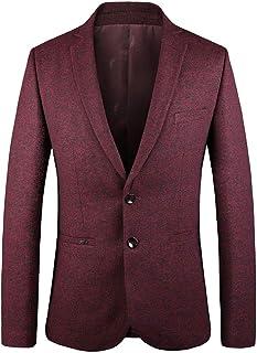 Men's Two Buttons Business Blazer Regular Fit Peak Lapel Casual Jacket Spring Winter Coat