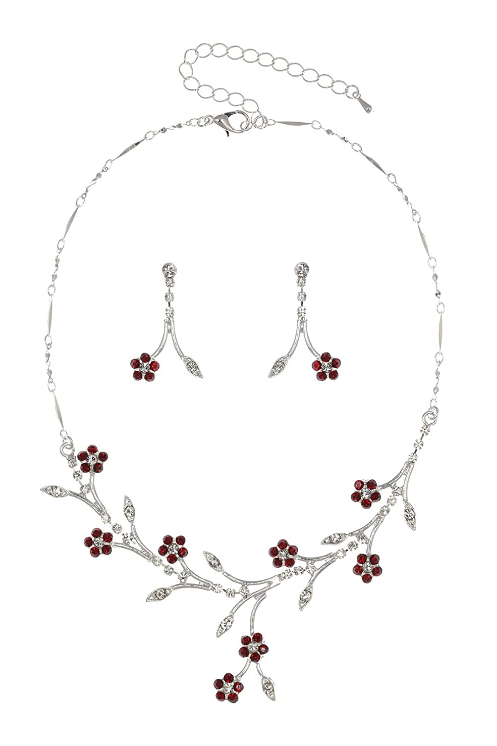 Crystal Flower Leaf Bridal Wedding Necklace Earrings Set - Silver Plated Red Rhinestones N160