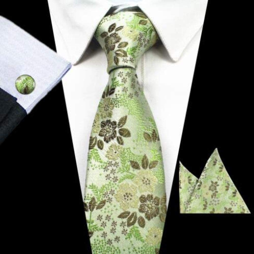 ZXCVBN Fashion Floral Ties Mens Tie Silk Jacquard Neck Ties Pocket Square Cufflinks Set for Wedding Party Suit