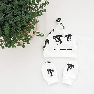 Greyhound Print Newborn Hat And No Scratch Mittens, Organic Cotton Baby Clothes