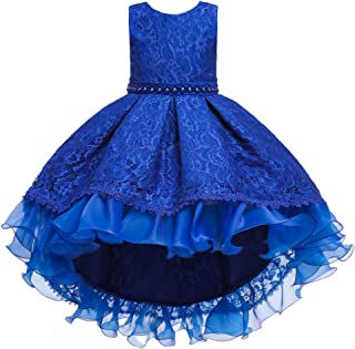 IBTOM CASTLE Flower Girls Vintage Overlay Lace Beaded Rhinestone Wedding Tulle Dresses Maxi High Low Gown Dance Tutus