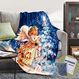 Morebee Christmas Angel Fleece Throw Blanket Custom Design Soft Lightweight Blanket for Bed Couch Sofa Travelling Camping for Kids Girls Boys Adults(30'x 45')