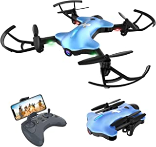 ATOYX AT-146 Foldable Drone 720P HD Camera, Optical Flow Position 150°Wide Angle HD Live Video WiFi Quadcopter with Altitude Hold Headless Mode RC Helicopter for Beginners and Kids(Blue)