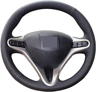 Eiseng DIY Steering Wheel Cover for 2006 2007 2008 2009 2010 2011 3 Spoke Honda Civic Microfiber Leather 13.5-14.5 Inch