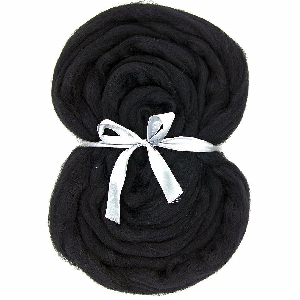 Needle Felting Wool Roving Top - DIY Craft Materials for Loom Weaving Merino Tapestry 2.2Yards (Black-3.5OZ)