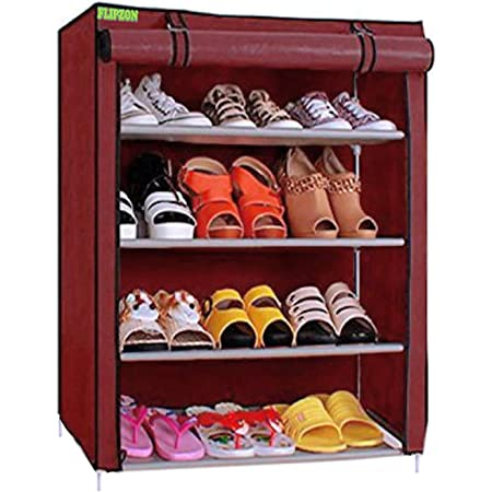 FLIPZON Premium 4-Tiers Shoe Rack/Multipurpose Storage Rack with Dustproof Cover (Iron and Fabric) (Maroon), Iron Pipes, Non Woven Fabric, PPCP Plastic Connectors